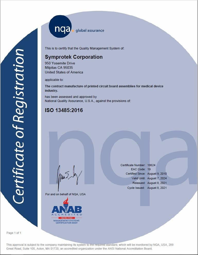 Certifications - Symprotek Corporation - Turnkey PCB Assembly